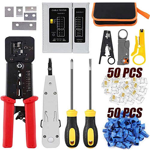 LEATBUY RJ45 Crimp Tool Set for RJ11/RJ12 Pass Through Cat5/Cat5e/Cat6 Crimping Tool for Regular End-Pass-Through with 50PCS Connectors, 50PCS Covers Network Wire Stripper Kit(Rose Red)