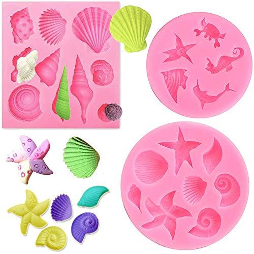 3pcs 3D Molde Decoración Pasteles Marina Animales Bricolaje Manualidades para Reposteria Fondant Caramelos Tartas Helados Bizcochos Jabones Magdalenas, Seguro en Microondas