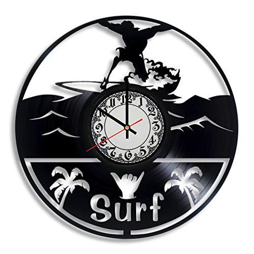 Surfing Wall Art - surf Sign, surf Illustration surf Board Wall Clock for Decor Surfer Birthday surf Nursery Decor Wave Decal for Wall Nursery Decor
