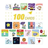 Lunch Box Notes for Kids - 100 Pack Inspirational, Motivational, Thinking of You, Kindness Mini Note Cards to Put Love and Encouragement in Your Boys & Girls' Box & Bags