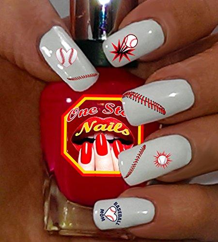 Baseball MOM Clear waterslide nail art decals with Baseball MOM Art. Set of 87.