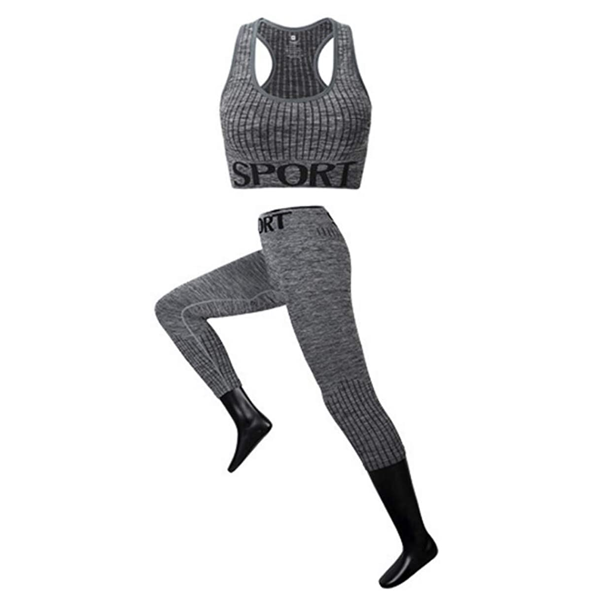 魚散る閲覧するスポーツウェアシームレスなヨガの服リムズなしの下着アンダーウェアショックプルーフフィットネス速いスポーツブラジャーセット弾性弾性ウエストスポーツウェアスーツツーピース (Color : 4, Size : M)