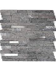 Mozaïek tegel marmer natuursteen brick splitface grijs roestvrij staal voor muur badkamer toilet douche keuken tegelspiegel THEKENBEKING BADBEBEKING MOzaïekmat mozaïekplaat
