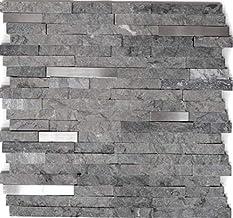 Mozaïek tegel marmer natuursteen brick splitface grijs roestvrij staal voor muur badkamer toilet douche keuken tegelspiege...
