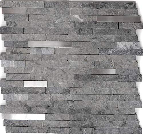 Mosaik Fliese Marmor Naturstein Brick Splitface grau Edelstahl für WAND BAD WC DUSCHE KÜCHE FLIESENSPIEGEL THEKENVERKLEIDUNG BADEWANNENVERKLEIDUNG Mosaikmatte Mosaikplatte