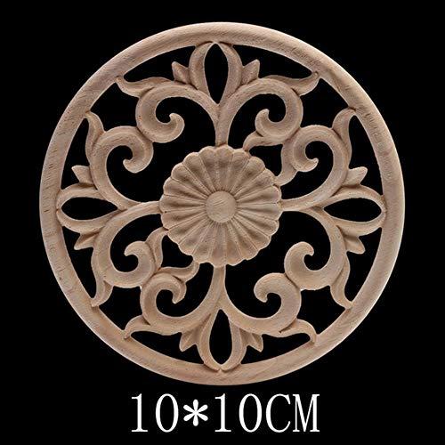 Hummla Dekorative antike natürliche Geschnitzte Holzfiguren Holz Aufkleber Holzapplikation Onlay große Lange ovale Holzfenster Möbel Schrank, B141-2
