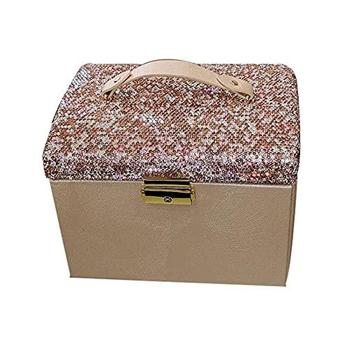 Joyería caja de joyería organizador grande capacidad 3 capas superficie palo diamante joyería anillos de almacenamiento con espejo partición almacenamiento organizador collar pendiente almacenamiento