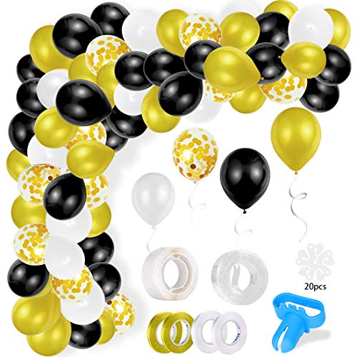 Balloon Arch Garland Kit, 110Pcs Black White Gold Confetti and Metal Latex Balloons with 16ft Balloon Strip Tape and Glue Points, for Graduation Wedding Birthday Party Halloween
