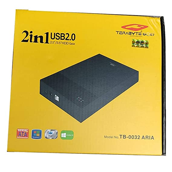 """Techbloggers Terabyte 2 in1 Hard Drive casing,High Speed 2 in 1 External Hard Drive Casing for 2.5"""" & 3.5"""" Sata Hard Drives Dual 2.5 inch and 3.5 inch HDD Enclosure"""