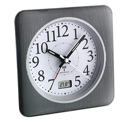 TFA Dostmann Analoger Funk-Wecker mit digitaler Temperaturanzeige, Kunststoff, Schwarzweiß, (L) 120 x (B) 51 x (H) 120 mm