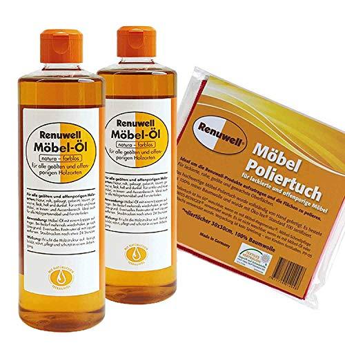 Renuwell Möbel-Öl 2 x 500 ml + Möbel Poliertuch 4 Stück Spar-Set