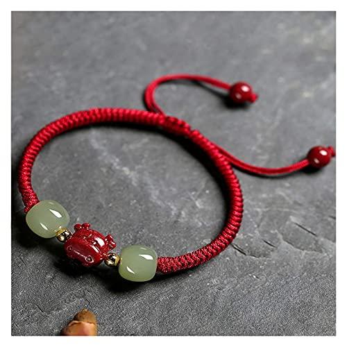 PRTOYO Año de OXT 2021 Talisman Hetian Jade Cinnabar Bangle Feng Shui Pulsera de Ox Proto de la Riqueza Femenina Ajustable Reiki Healing Chakra Meditación para la energía Positiva afortunada