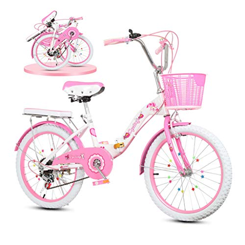 Bicicleta Plegable De Bicicleta Para Niños De 20 Pulgadas, Coche Princesa De...
