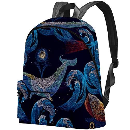 Ballenas y ancla, faro de olas de mar y barco, mochila de viaje, mochila de viaje, mochila escolar grande para mujeres, niños y hombres
