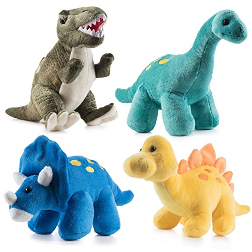 Prextex High Qulity Plush Dinosaurs 4 Pack 10'' Long Great Gift for Kids Stuffed...
