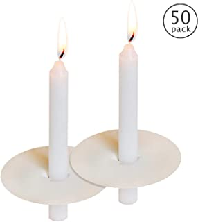 50 Church Candles with Drip Protectors for Devotional Candlelight Vigil Service, Box of 50 Candles, Unscented White 5