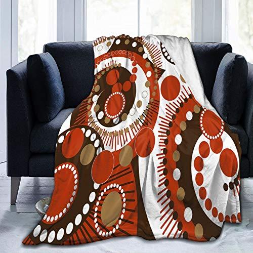 Manta mullida, colores retro, abstractos en espiral, lunares y líneas, arte moderno, ultra suave, manta de bebé, manta para dormitorio, cama, TV, manta de cama de 50 x 40 pulgadas