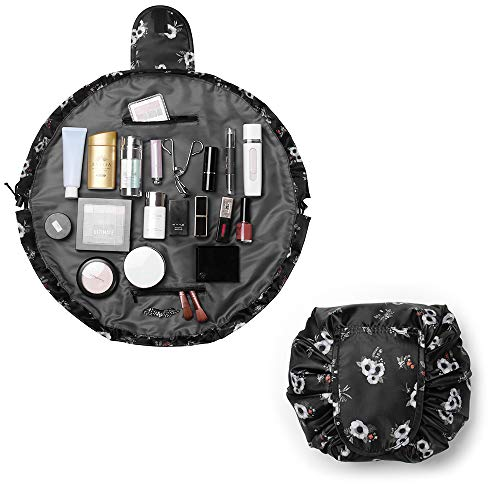 Bolsa de Maquillaje,Organizador de un Solo Paso, Mujeres de Viaje Bolsas de aseo Portátil a Prueba de Agua Quick Pack Bolsa (Negro)