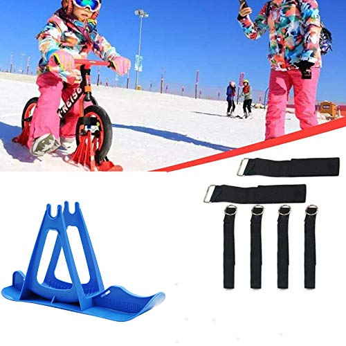 2Pcs Snow Ski Ski Set, 8-14 Pulgadas Bicicleta De Equilibrio para Niños, Skis Kids Snowboard Sled Ski Board Balance Bike Scooter Piezas De Ruedas,Azul