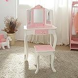 Mesa de tocador rosa de madera con espejo y banqueta de Teamson KidsTD-11670K