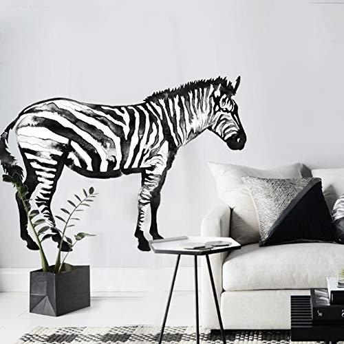 80cmx115cm Zebra-Wandaufkleber Tieraquarellpferd Schwarzweiss-modernes nordisches Inneneinrichtungszubehörpferd Vinilo...