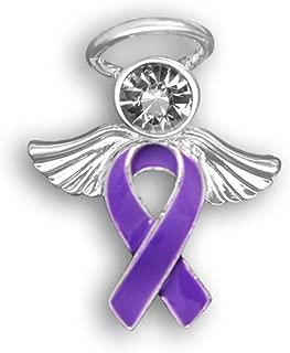 Purple Ribbon Awareness Angel Pins (25 Pins in Bulk)