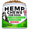 All-Natural Hemp Chews + Glucosamine for Dogs - Advanced Hip & Joint Supplement w/Hemp Oil Turmeric MSM Chondroitin + Hemp Protein to Improve Mobility - Joint Pain Relief Made in USA - Duck Flavor