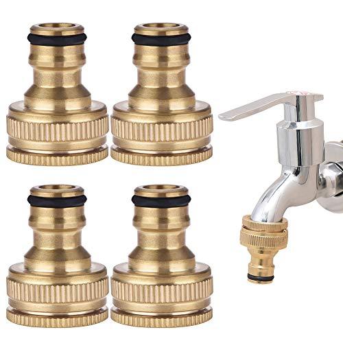 BETOY Conector de manguera de latón, 4 unidades, adaptador de manguera de latón de 1/2 y 3/4 rosca exterior para el hogar, jardín, accesorios de grifo