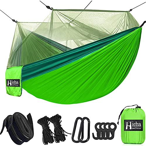 Hieha Camping Hammock with Mosquito Net, Portable Double/Single Travel Hammock w/Bug Insect Netting, Tree Straps & Carabiners for Outdoor Camping