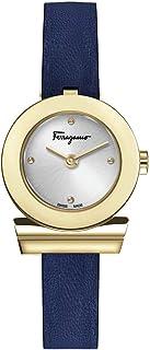 Salvatore Ferragamo Women`s GANCINO Yellow Gold Quartz Watch with Leather Calfskin Strap, Blue, 12 (Model: SFPD00319)
