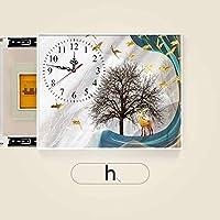 ヒューズボックスの配布ボックスの交換ドアを使用してサイレント時計は油圧ロッドパンチ無料ヒューズモジュールではメーターボックス装飾リビングルームのベッドルームプッシュプル装飾画をブロック (Color : Push Right H, Size : 60*40cm)