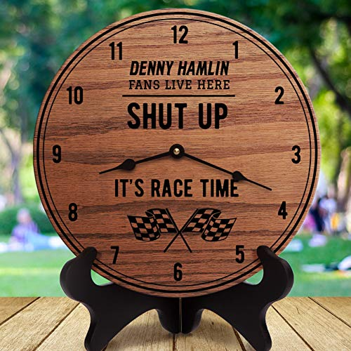 Georgia Barnard 12 Inch Wood Clock, Denny Hamlin Shut Up It's Race Time Sports Gifts Gift for Auto Racing Fans Sports Room Decor Sports are On Driver Race, Clock Only, Wall Clock