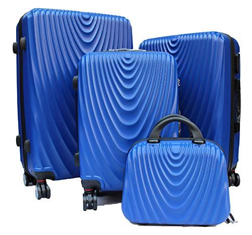 R.Leone Valigia da 1 pezzo Fino a Set 4 Trolley Rigido grande, medio, bagaglio a mano e beauty case 4 ruote in ABS 2011 (Azzurro, Set 4 XS S M L)