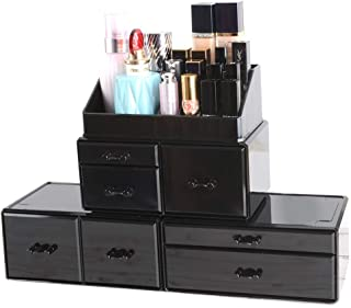 InnSweet Acrylic Cosmetic Organizer Beauty Storage Drawers, Large Makeup Storage Boxes Jewelry Display Cases with 7 Drawers, 4 Piece, Black
