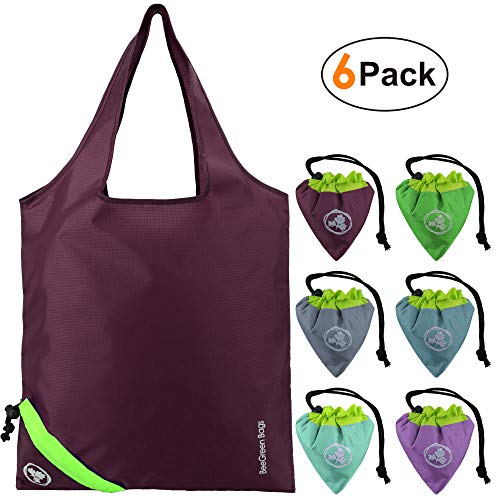 Reusable Grocery Shopping Bags Washable 6 Pack Colorful Reusable Bag Totes Fold up with Attached...