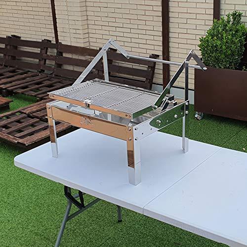 JMN INOX Barbacoa DE CARBÓN DE SOBREMESA Modelo AHAND con Sistema Giratorio de Parrillas Desmontables y Lavables en el lavavajillas