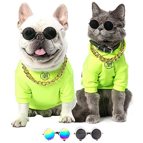 With You Retro-Sonnenbrille für Hunde und Katzen, rund, aus Metall, für Partys, Prince-Prinzessin, Cosplay, Foto-Requisiten, schwarz und blau verlaufend (M,L) (L, blauer Farbverlauf).