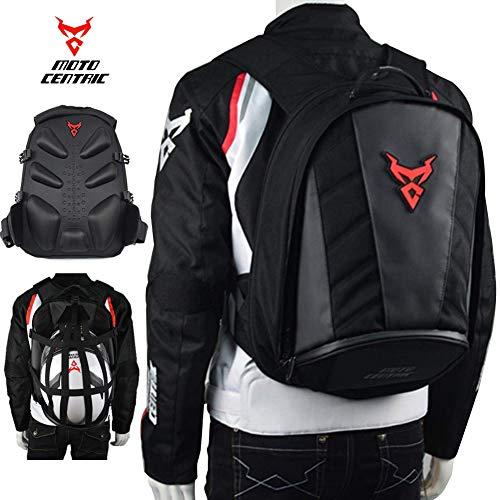MotoCentric Motorcycle Leather Waterproof Backpack Riding Laptop Helmet Shoulder Bag Package (Red)