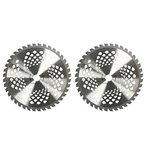 2pk 10' 40 Teeth Carbide Blades for Brush Cutter, Trimmer, Weed Eater Blade, Bore 1'