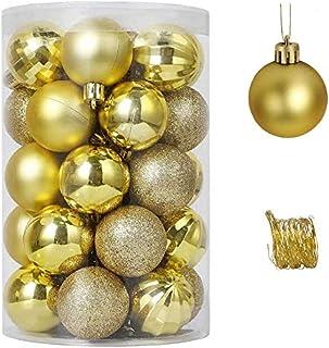 مجموعة كرات عيد الميلاد من SAPU 34 قطعة 6 سم لتزيين شجرة الكريسماس وكرات زينة الكريسماس ذهبي
