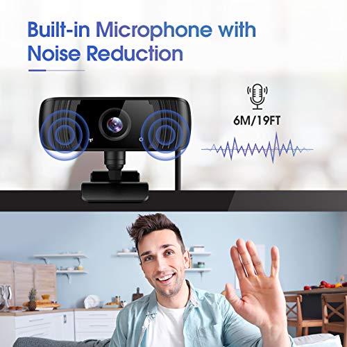 Webcam 2K mit Mikrofon, ansinna 1440P Full HD PC Web Kamera mit Belichtungskorrektur, 110° Blickfeld, USB 2.0 Plug and Play für Videoanrufe, Studieren und Konferenzen, Windows, Mac und Android