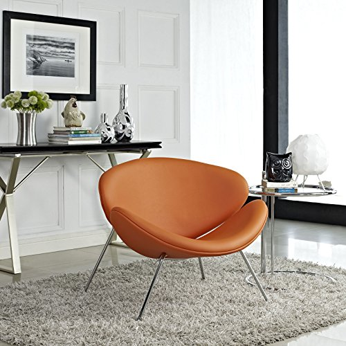 Mid-Century Modern Faux Leather Accent Lounge Chair In Orange