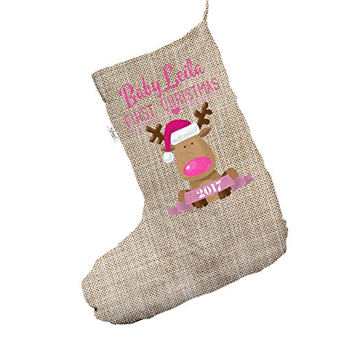 Personalizzato Baby' s first Christmas Pink Jumbo in iuta Babbo Natale calze