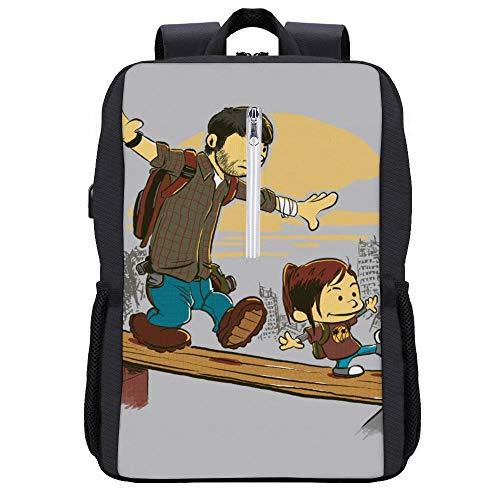 Two of Us Joel and Ellie The Last of Us Backpack Daypack Rucksack Laptop Shoulder Bag with USB Charging Port