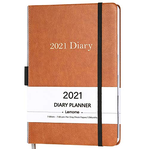 Lemome 2021 Diary Planner/Appointment Book with light brown leather cover