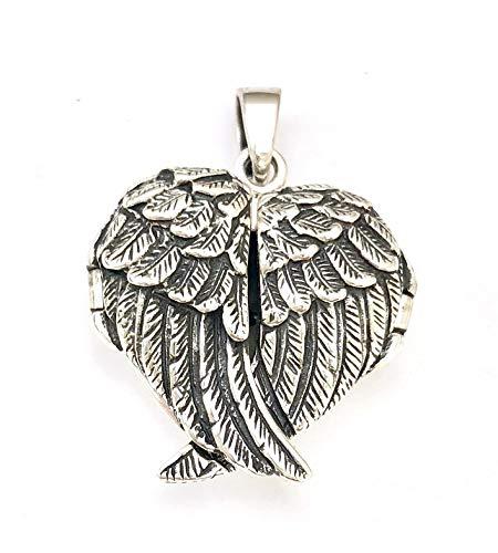 Ciondolo portafoto a forma di cuore in argento Sterling 925 con ali d'angelo, diametro 24 mm