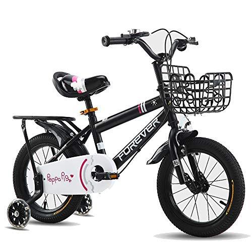 FUFU Bicicleta para niños de 12-16 Pulgadas de 12-16 Pulgadas de 2 a 8 años de Edad y niña Bicicleta con Ruedas de Entrenamiento (Color : Black, Size : 12in)