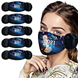 2 in 1 Winter Face_Mask for Men Women, Happy New Year 2021 Themed Design Warm Plush Face Covering with Cute Earmuff Washable Breathable Reusable Cold Weather Face Bandanas
