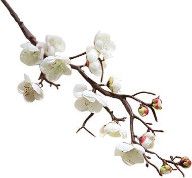 Lot de 10 branches de fleurs de prunier artificielles, fleurs de cerisier artificielles en soie, fleurs de pêche, fleurs arti