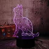 3D Nachtlicht 3D Illusionslicht 3D Leuchtende Tischlampe Farbe Katze 16 Farbe Illusions-Touch-Licht Nachtsicht-Tischlampe Mit Fernbedienung